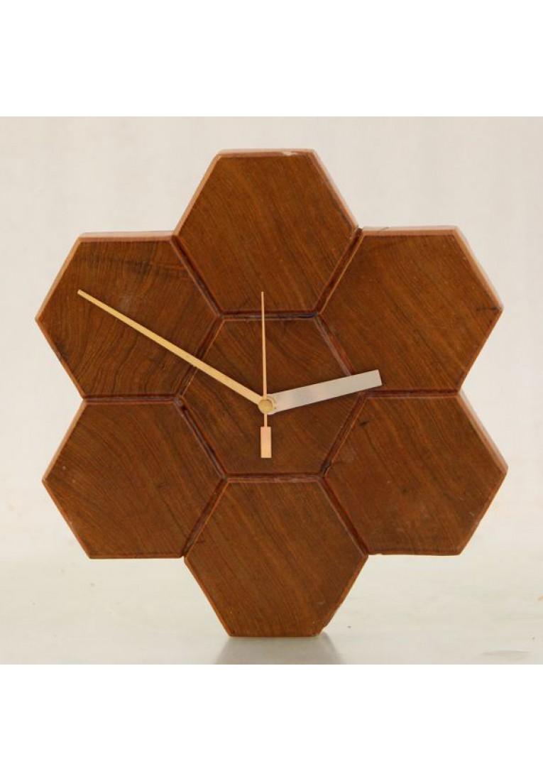 Honeycomb teak - Wall Clock