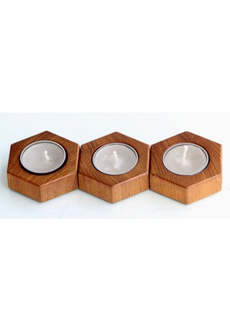Tree Hex - Teak Wood - Set of Three